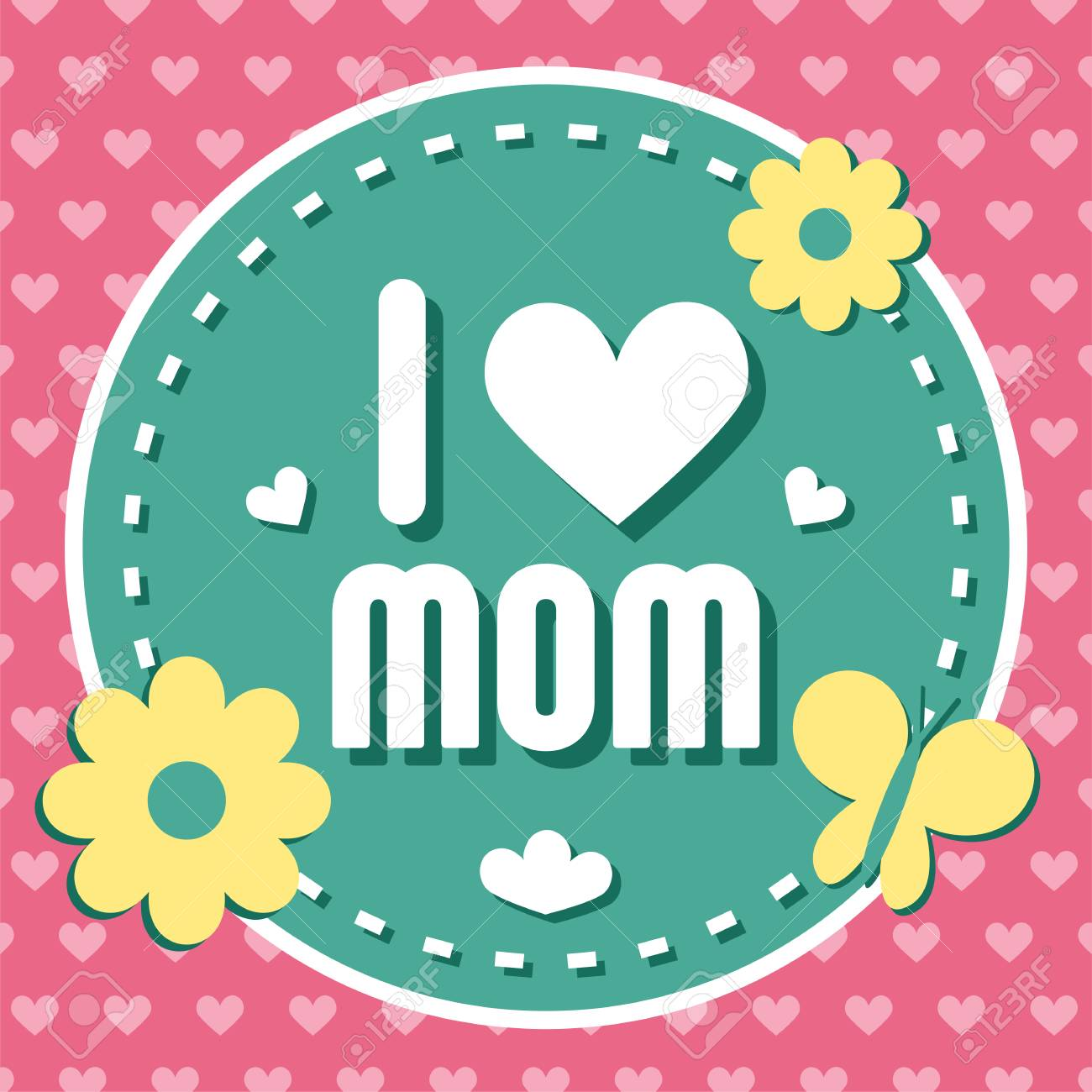 Colorful I Love Mom Emblem Vector Design Elements For Greeting Card And Other Print Templates