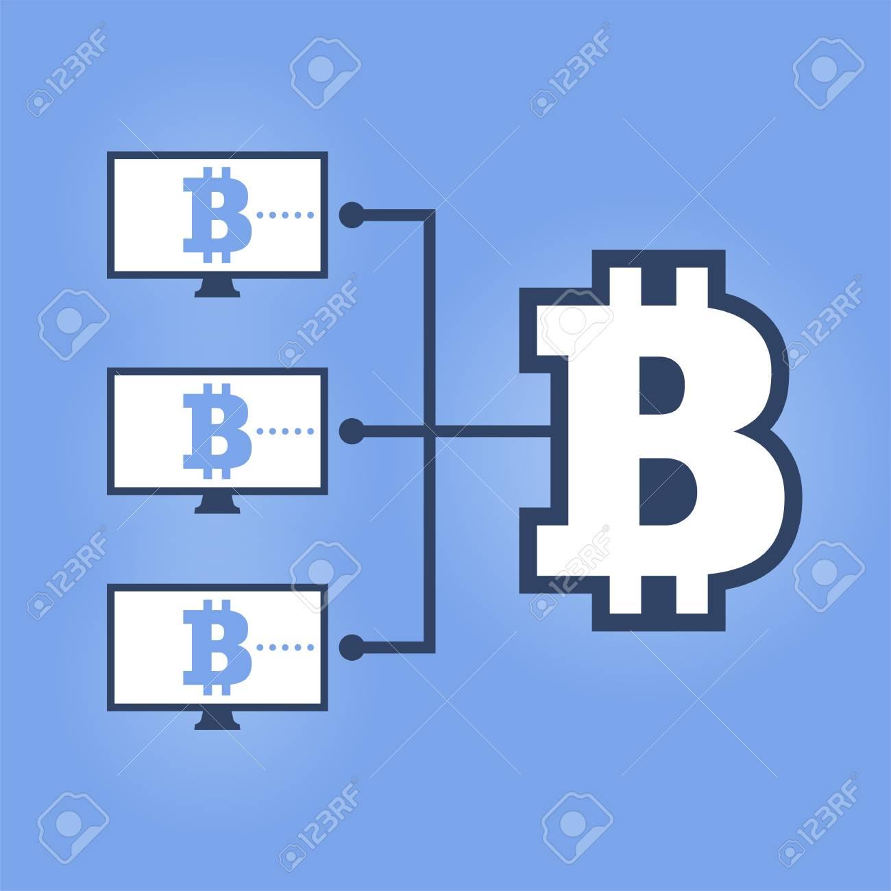 Comment Travailler Reseau De Controle Illustration De Timbre Plat Ordinateurs Avec Diagramme Bitcoin Sur Fond Bleu