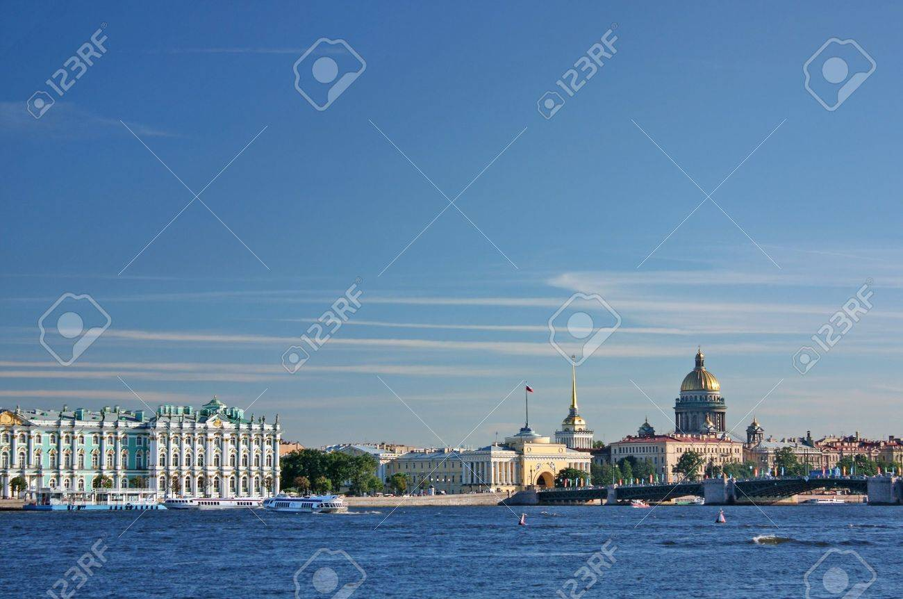 Saint-Petersburg. View of the Palace quay (Winter Palace - Hermitage, Admiralty, St. Isaac's Cathedral, Palace Bridge, Neva). Weather sunny. Stock Photo - 7868581