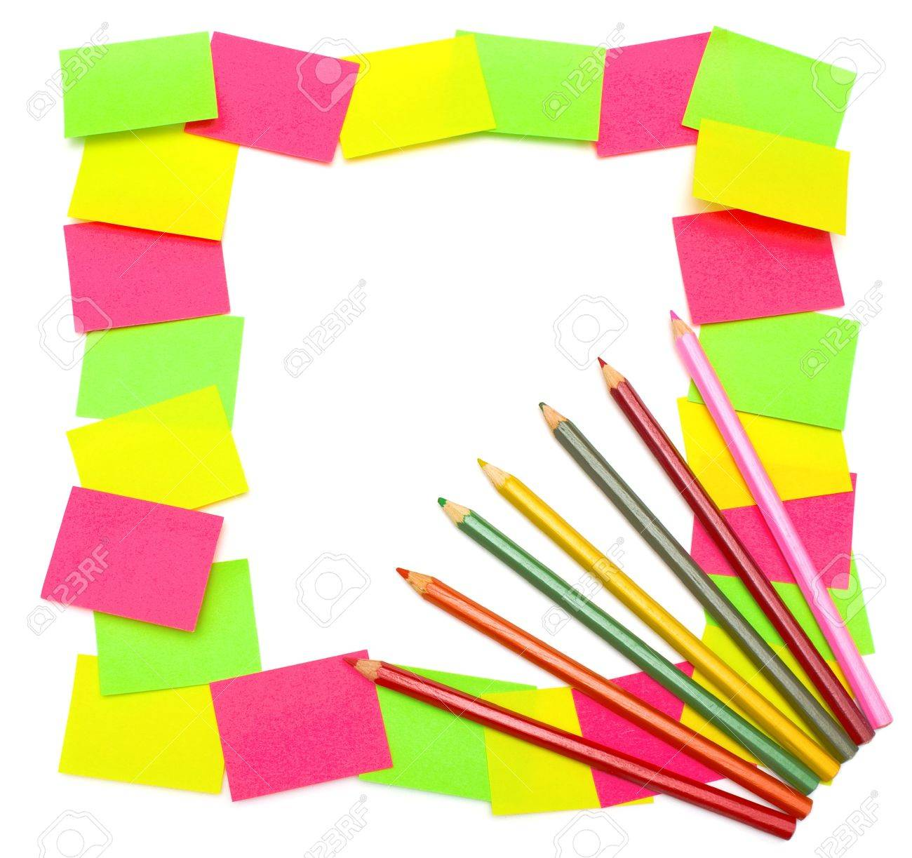 Colorful reminders  frame from paper stickers  green, yellow, pink  and seven colored pencils isolated on white background Stock Photo - 13162846