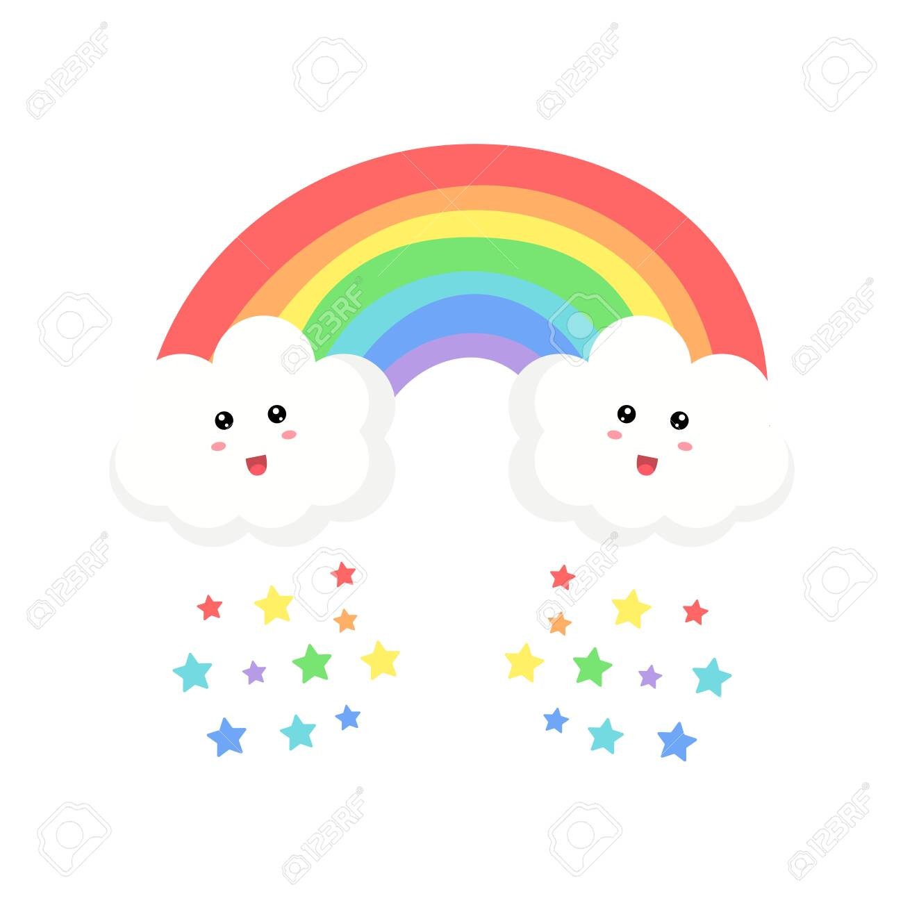Cute Clouds And Rainbow Drawing Vector Illustration Isolated Royalty Free Cliparts Vectors And Stock Illustration Image 128516663