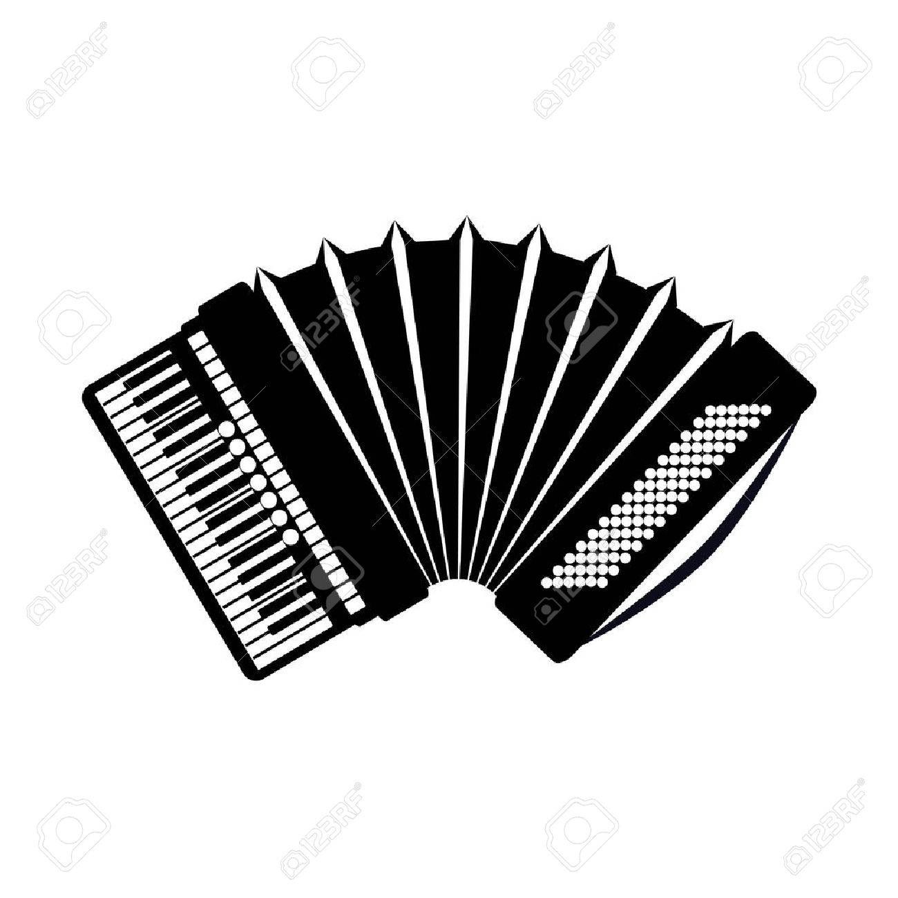 Accordion icon, isolated on white background. Musical instrument icon. - 68785129