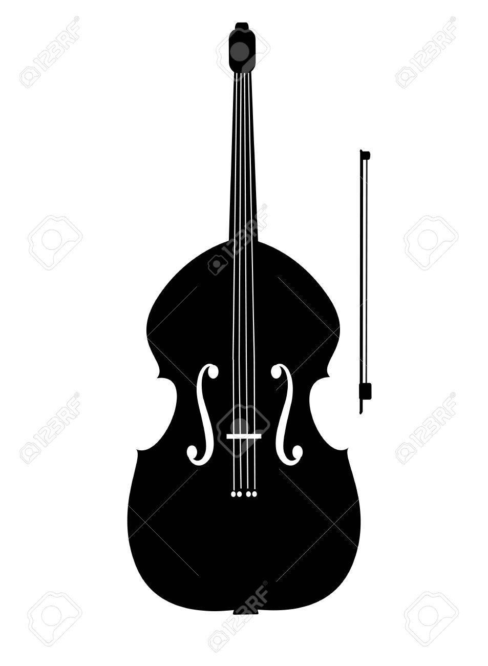 コントラバスの黒いアイコン イラストのイラスト素材ベクタ Image