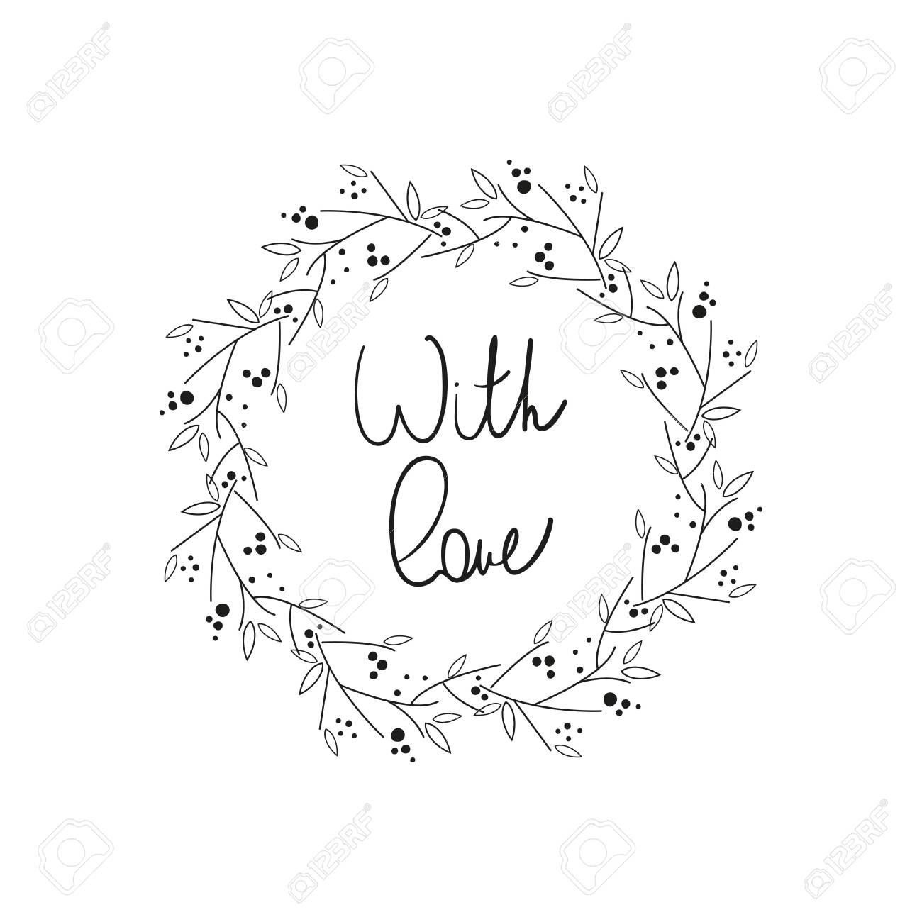 「愛」手書きのレタリングと花のフレーム。ポスター、カード、招待状、プラカード、パンフレット、バレンタインデー、結婚式カードのデザイン。