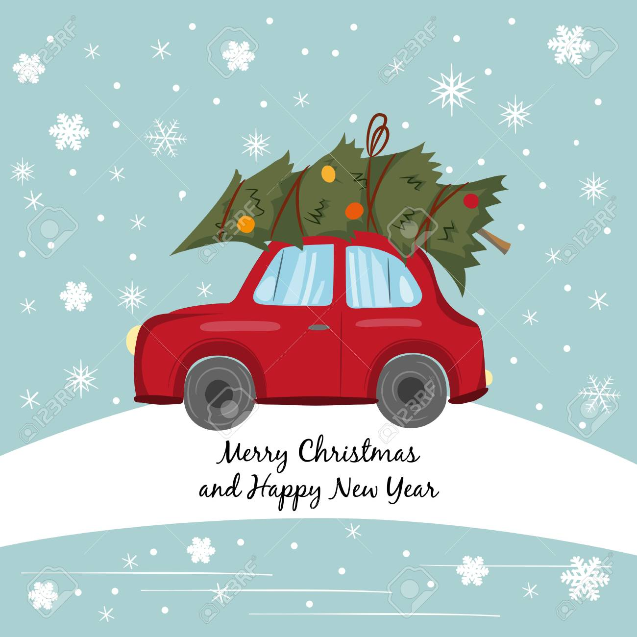 Car Christmas Tree.Red Car With Christmas Tree On The Winter Background