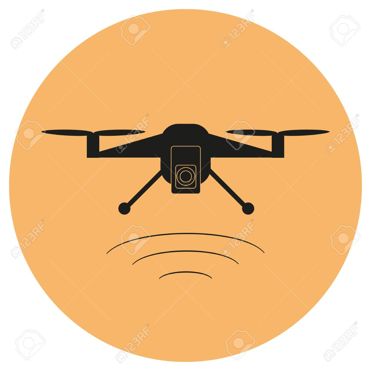 Drone With A Camera Taking Photography Or Video Recording Black Icon On Isolated Background