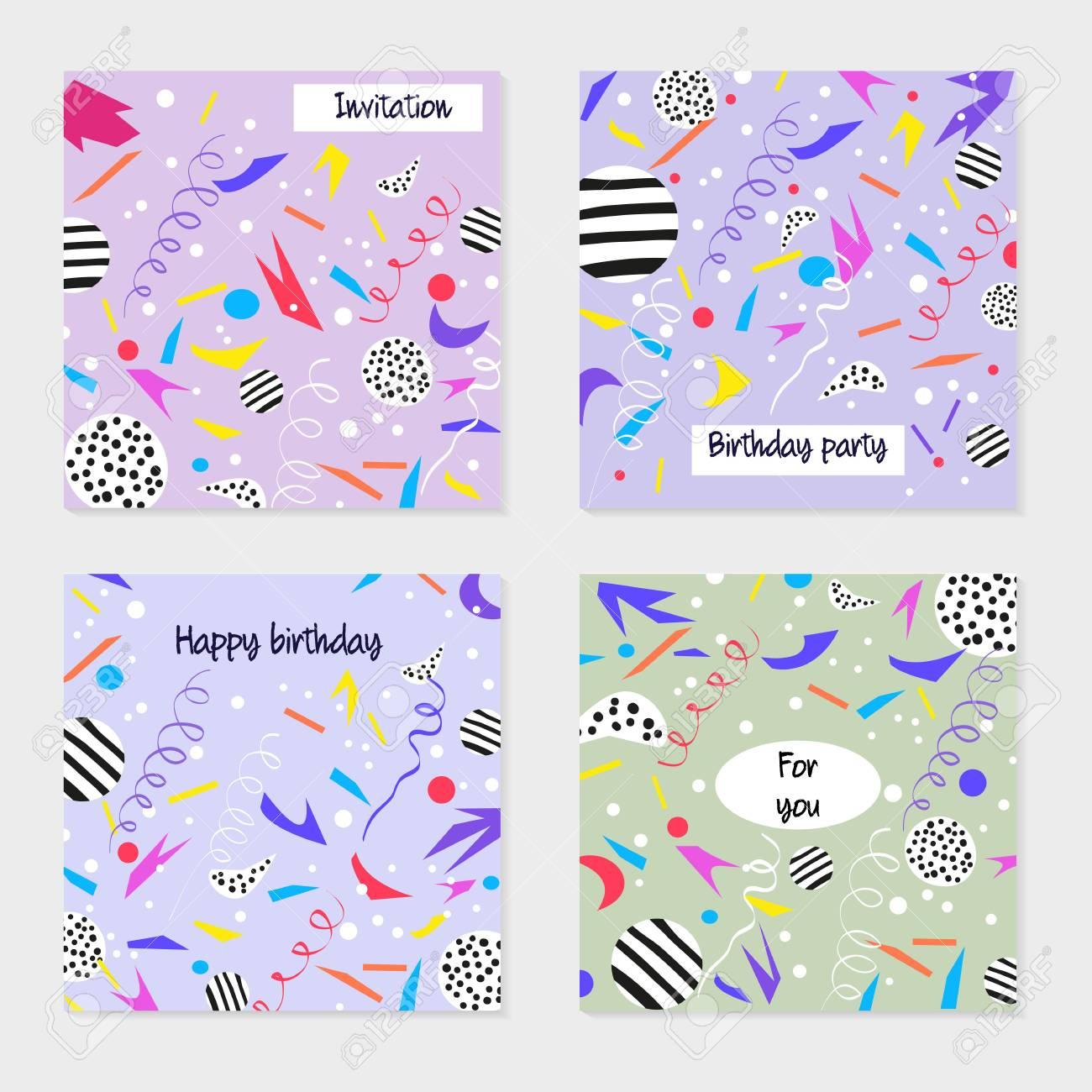 Conjunto De Tarjetas De Fiesta E Invitaciones Diseño Para Póster Tarjeta Invitación Cartel Folleto Fondos De Cumpleaños Con Confeti Estilo