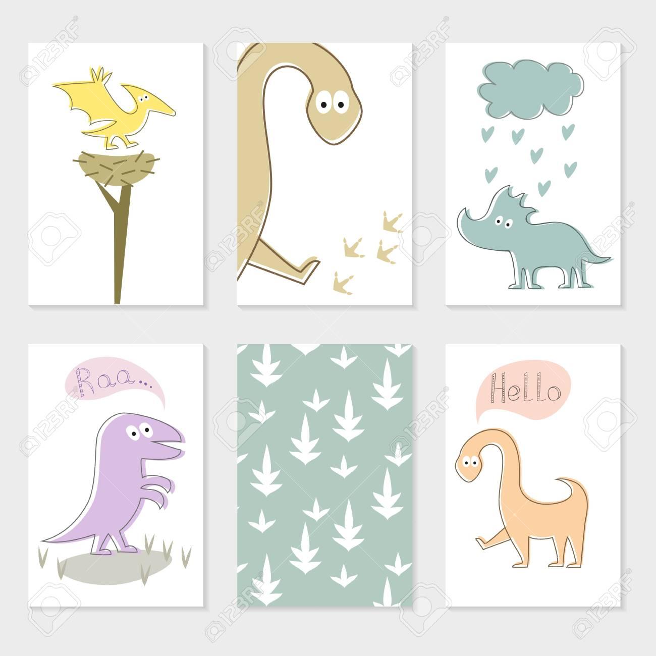 Conjunto De Tarjetas Universales Creativas Artísticas Con Dinosaurios De Dibujos Animados Para Cumpleaños Día De San Valentín Fiesta Invitaciones