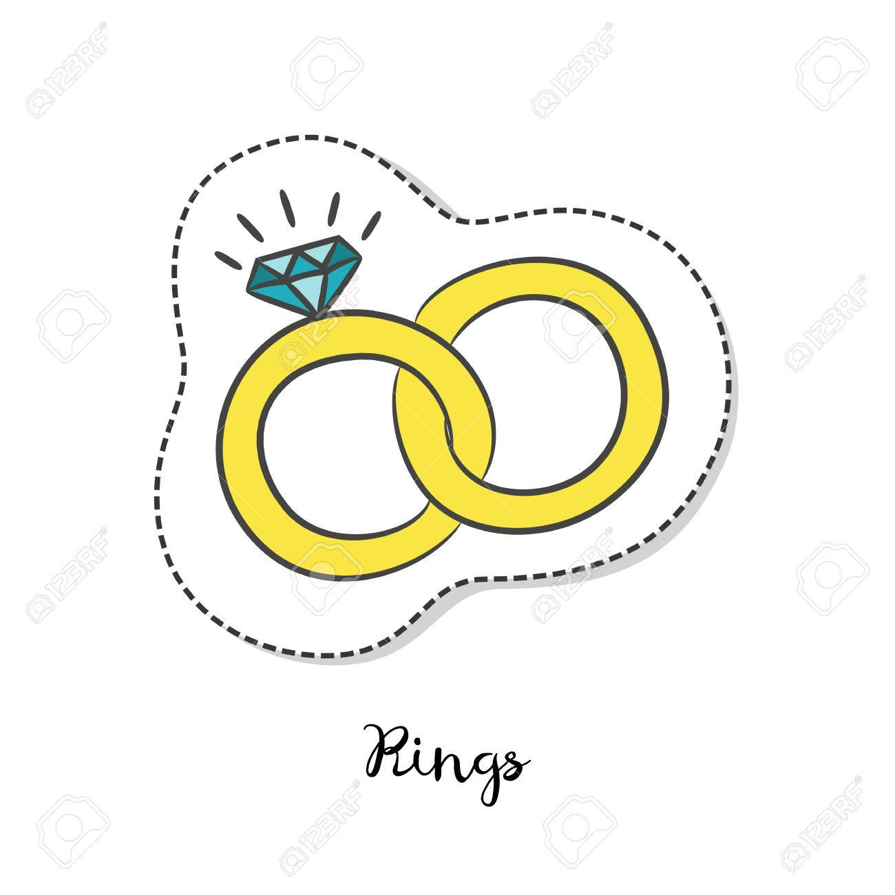 Cartoon Sticker With Wedding Rings On White Background Vector