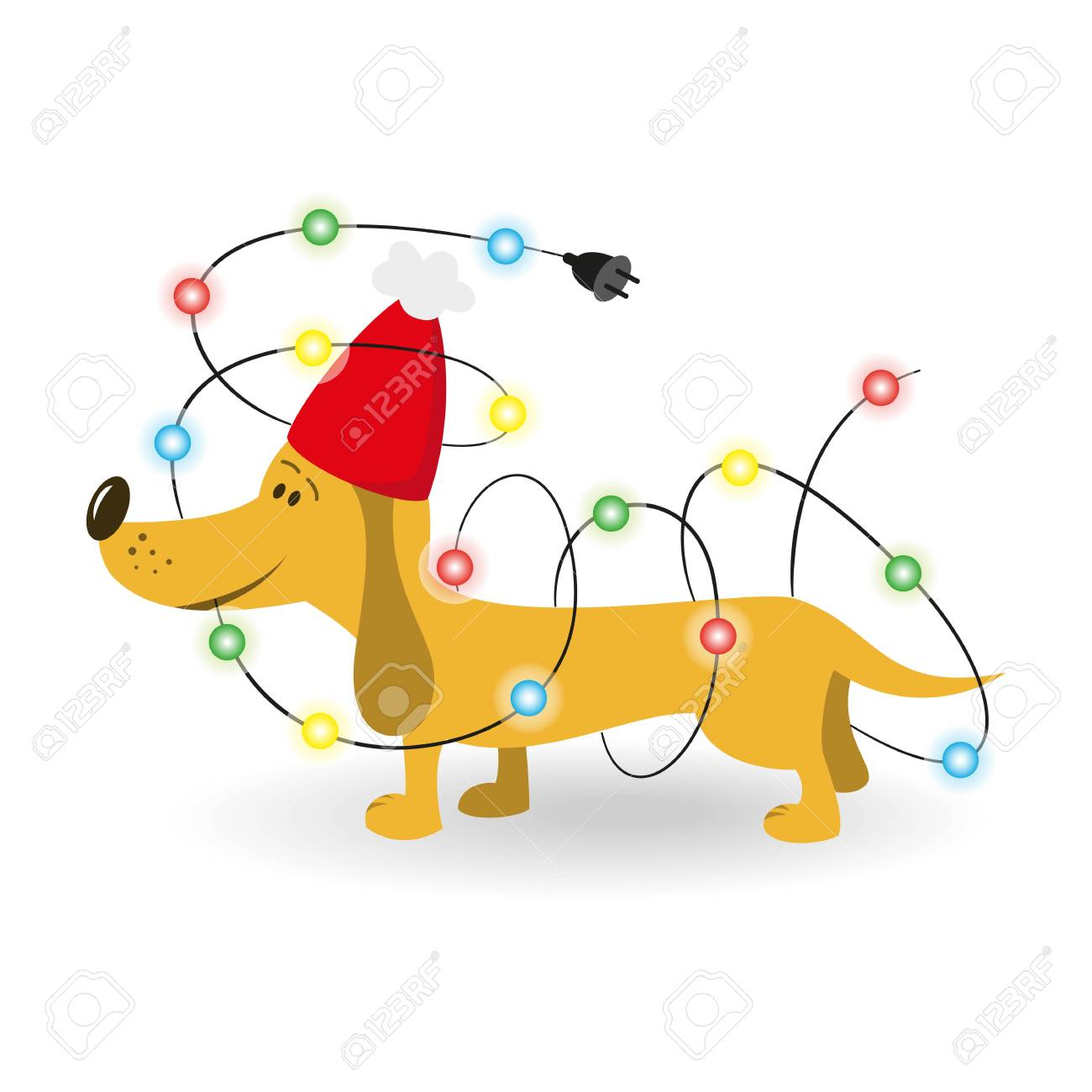 Cartoon Dog With Christmas Garland On The White Background