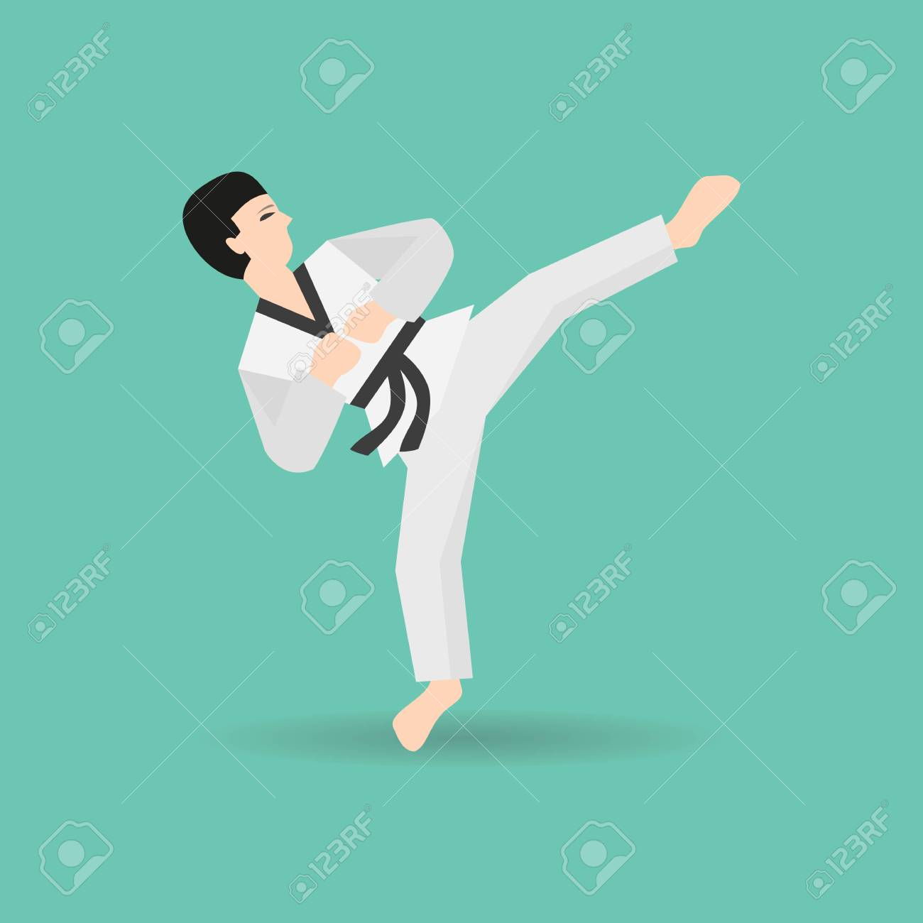 Karate Icon On The Green Background Vector Illustration Royalty