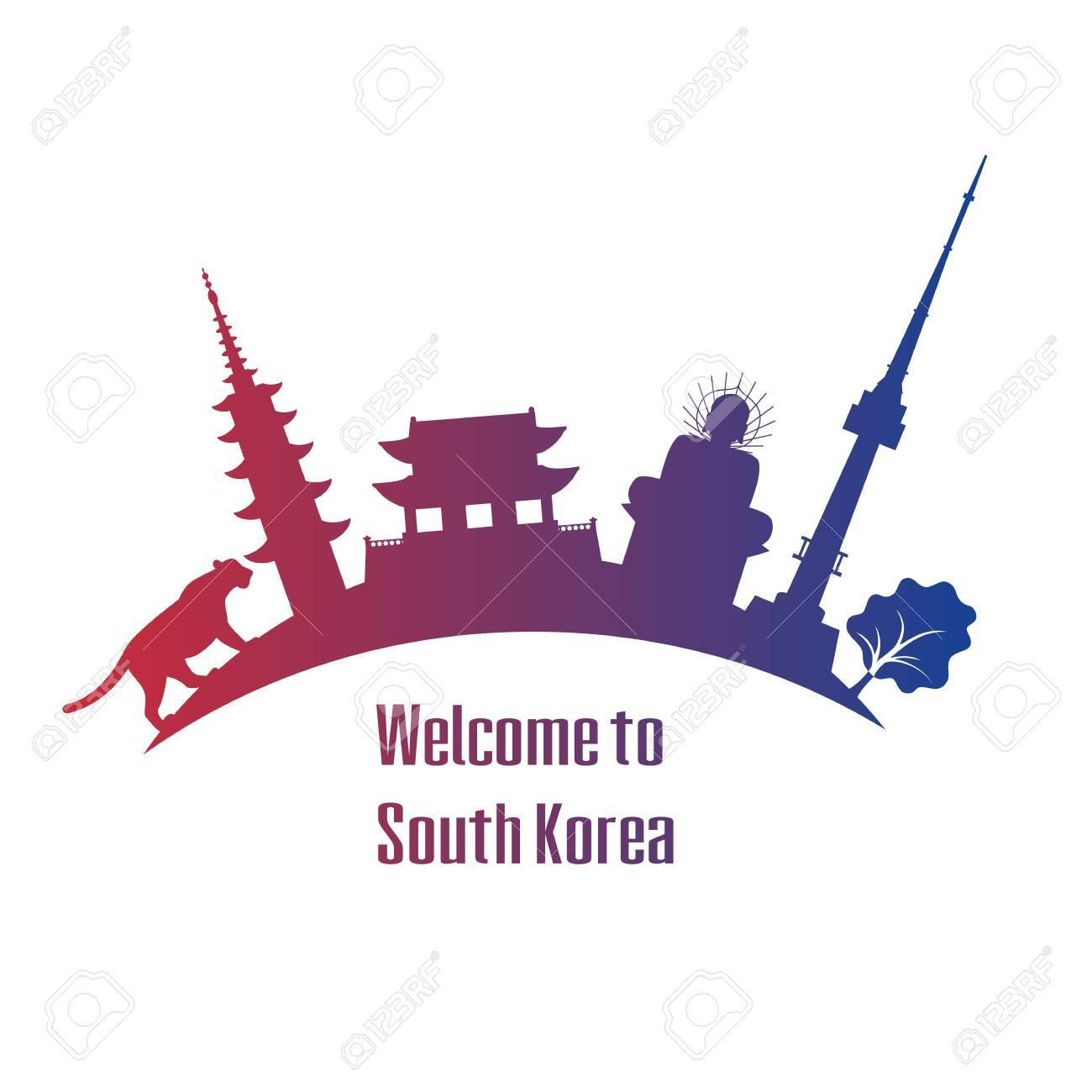 Welcome to south korea poster with symbols of south korea vector welcome to south korea poster with symbols of south korea vector illustration stock biocorpaavc Gallery