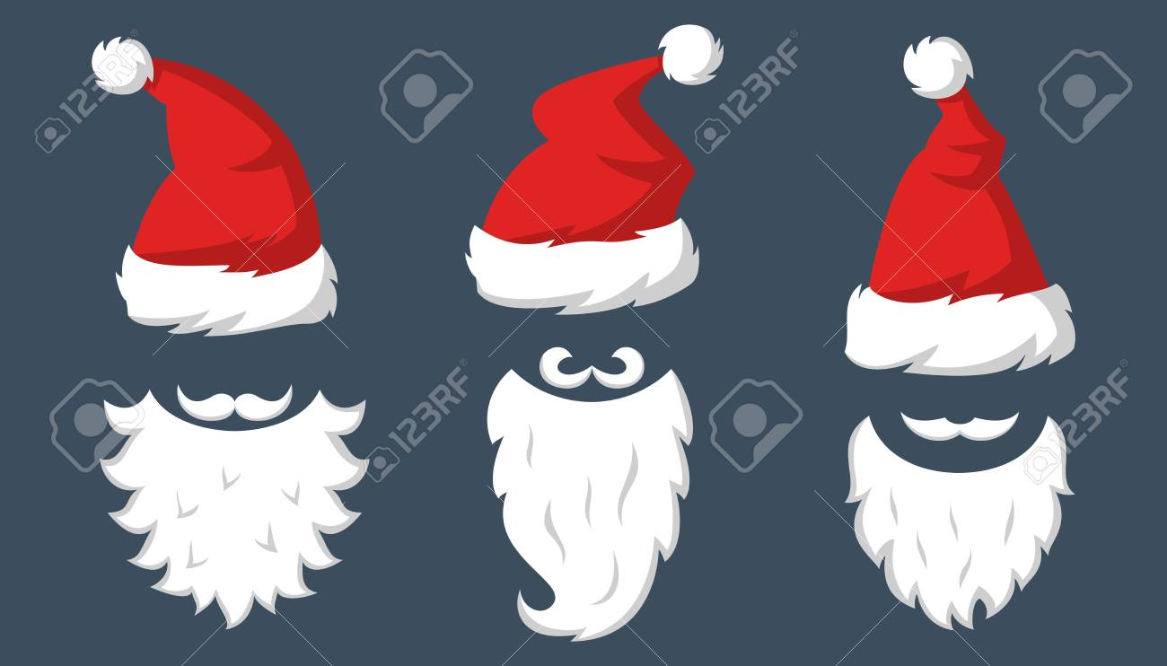 7bd487ab2370d Set of Red hats and beards of Santa Claus. Vector illustration. Stock Vector  -