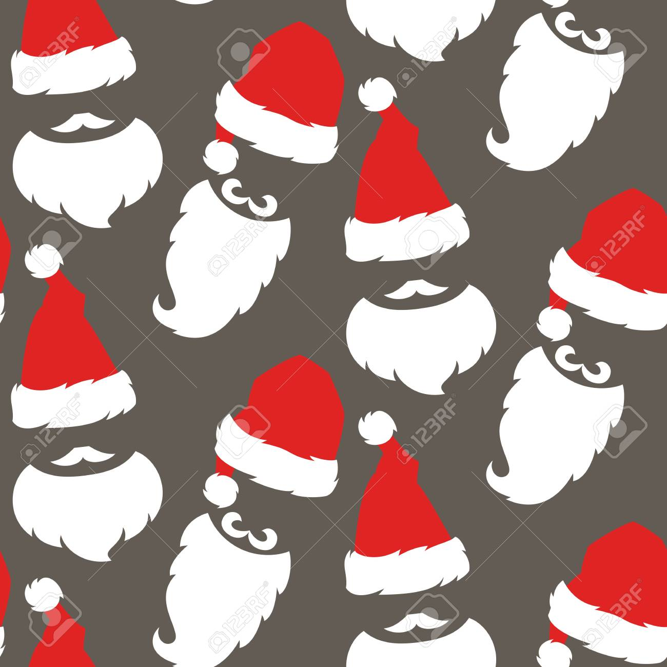 0dbd39e7659e9 Seamless pattern with Red hats and beard of Santa Claus. Vector illustration.  Stock Vector