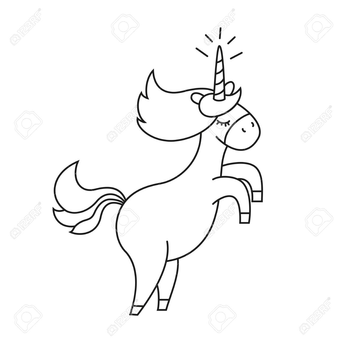 Illustration With Cute Unicorn For Coloring Book. Vector ...