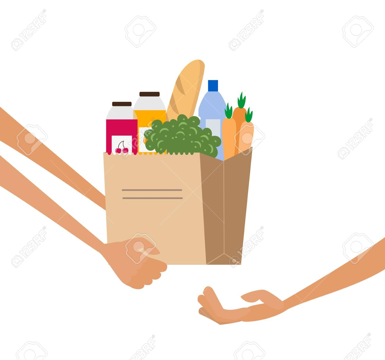 Grocery delivery service concept with paper bag full of food. Vector illustration. - 98521512