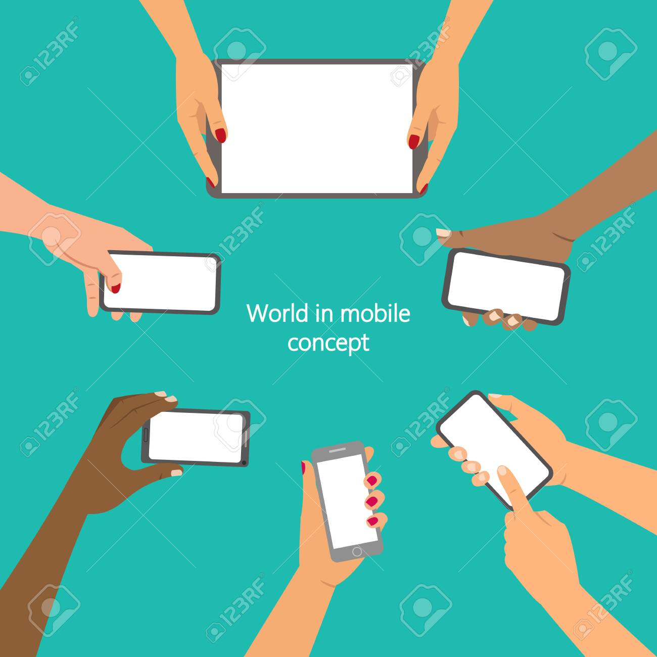Mobile application concept, hands holding a phones. Vector illustration. - 122226303