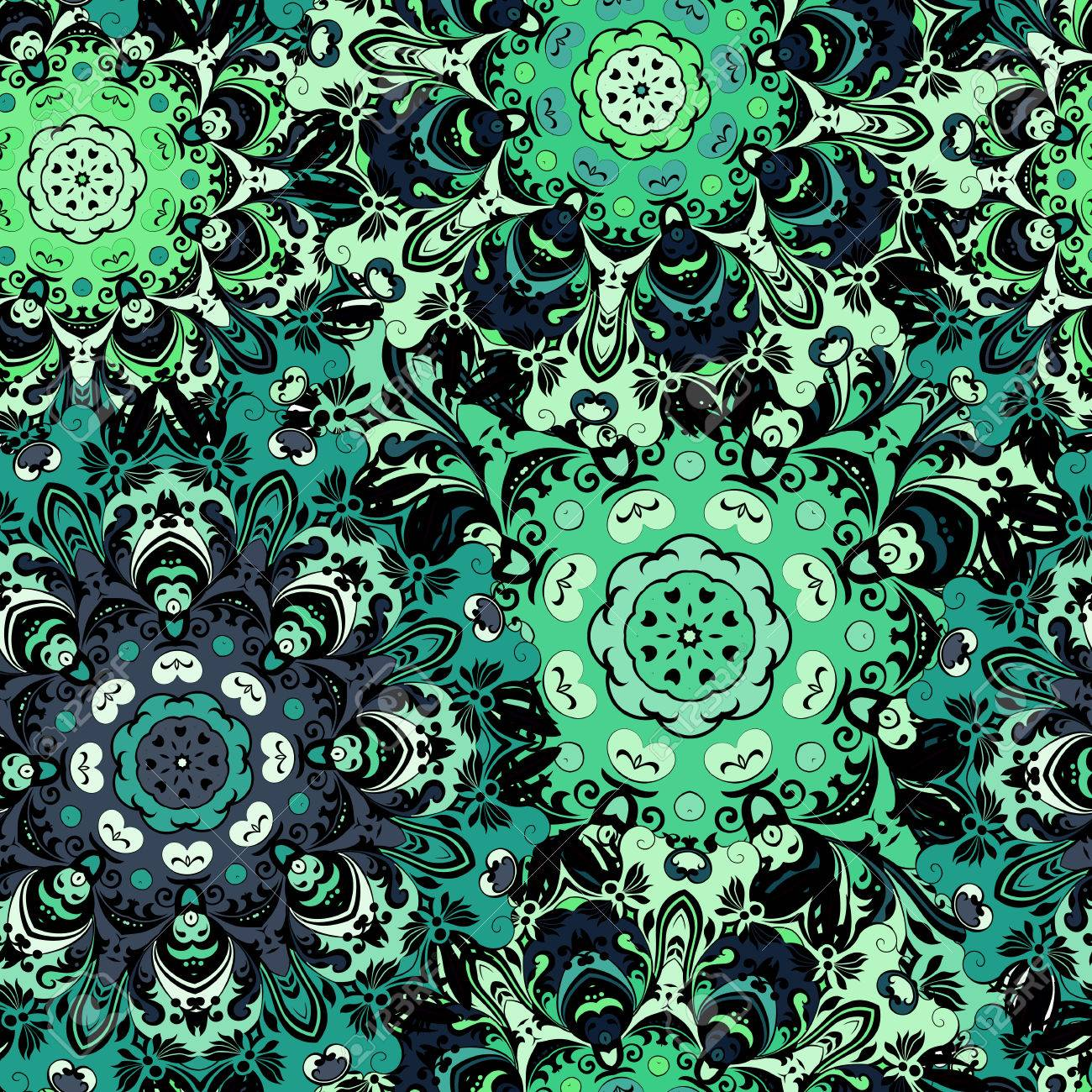 Vintage oriental seamless pattern in green colors. Indian, arabic, ottoman, turkish, japanese, chinese floral motif for background or front-side. Eastern retro ornament for wrapping or textil. Vector art. - 60510575