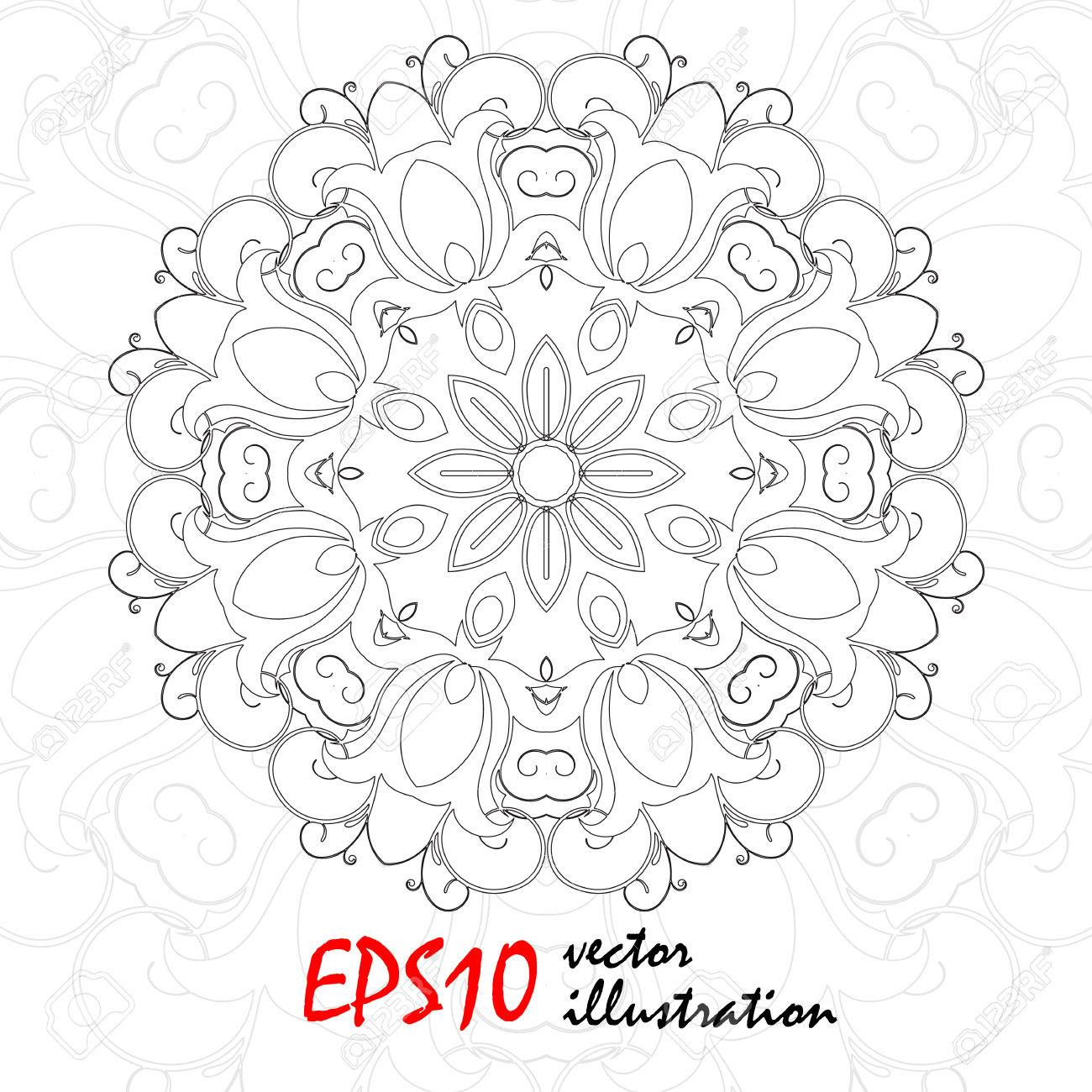 Vector Antistress Coloring Book With Geometric Mandala. Snowflake ...