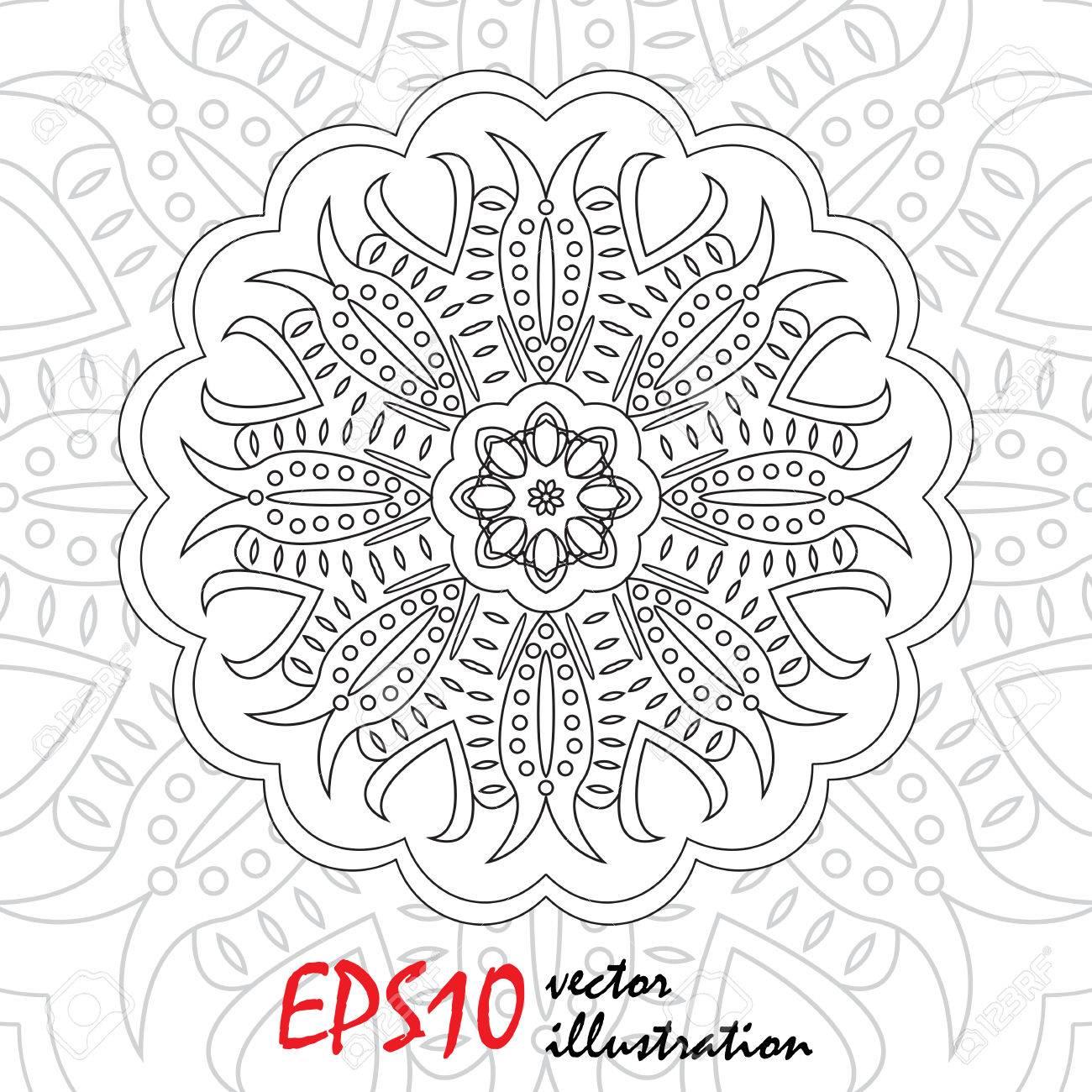 Vector Abstract Pattern Page For Antistress Coloring Book Mandala Snowflake Stock