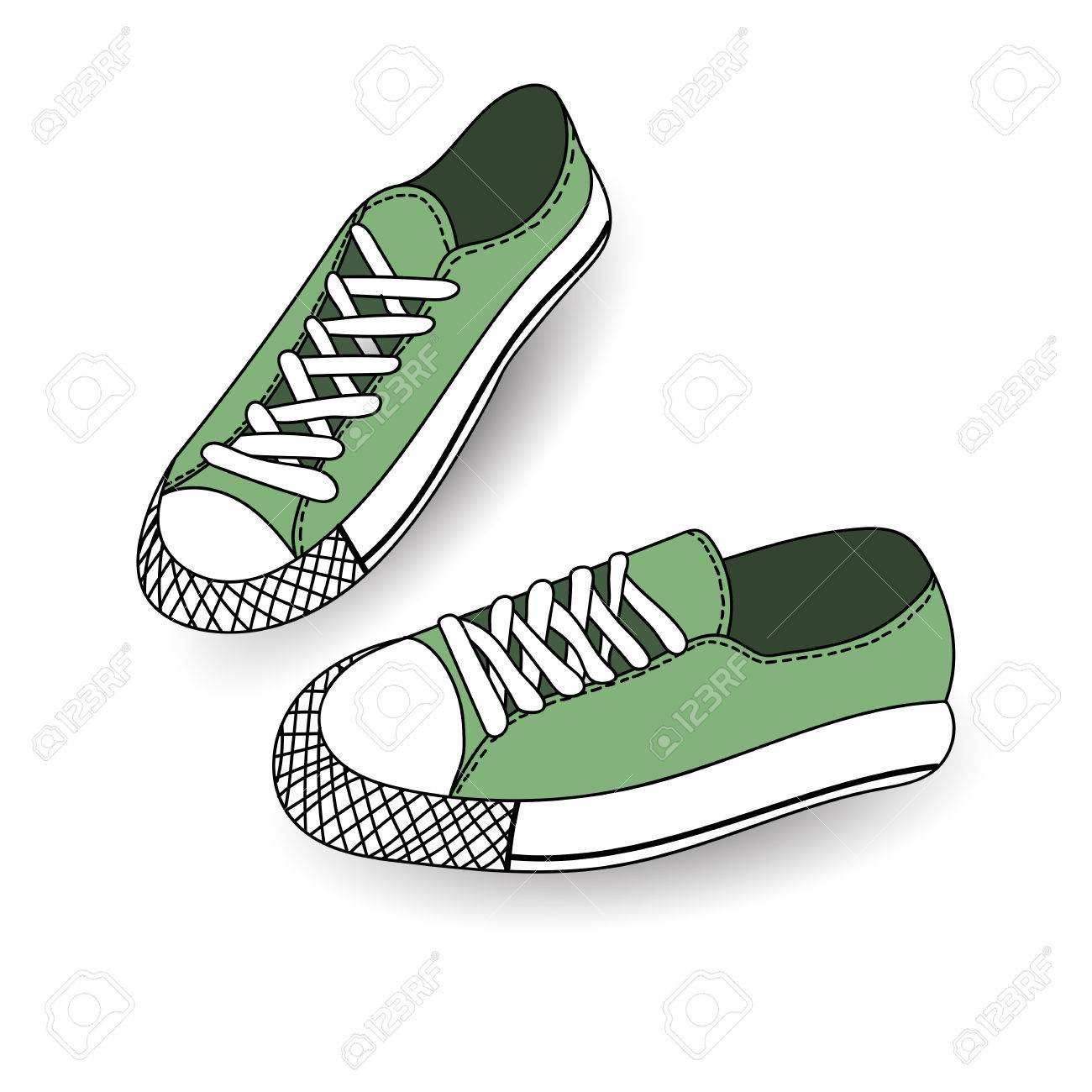 Vector illustration of hand drawn, drawing, sport shoes for tennis,..