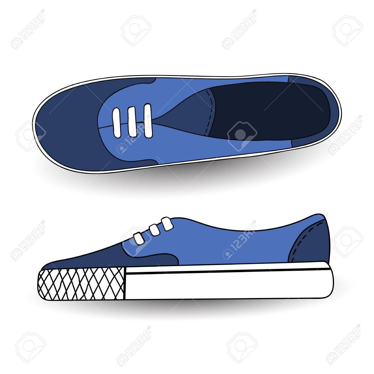 Illustration vectorielle de chaussures de sport dessinés, dessin, bleu, dessinés à la main pour le tennis, les formateurs, les baskets. Style