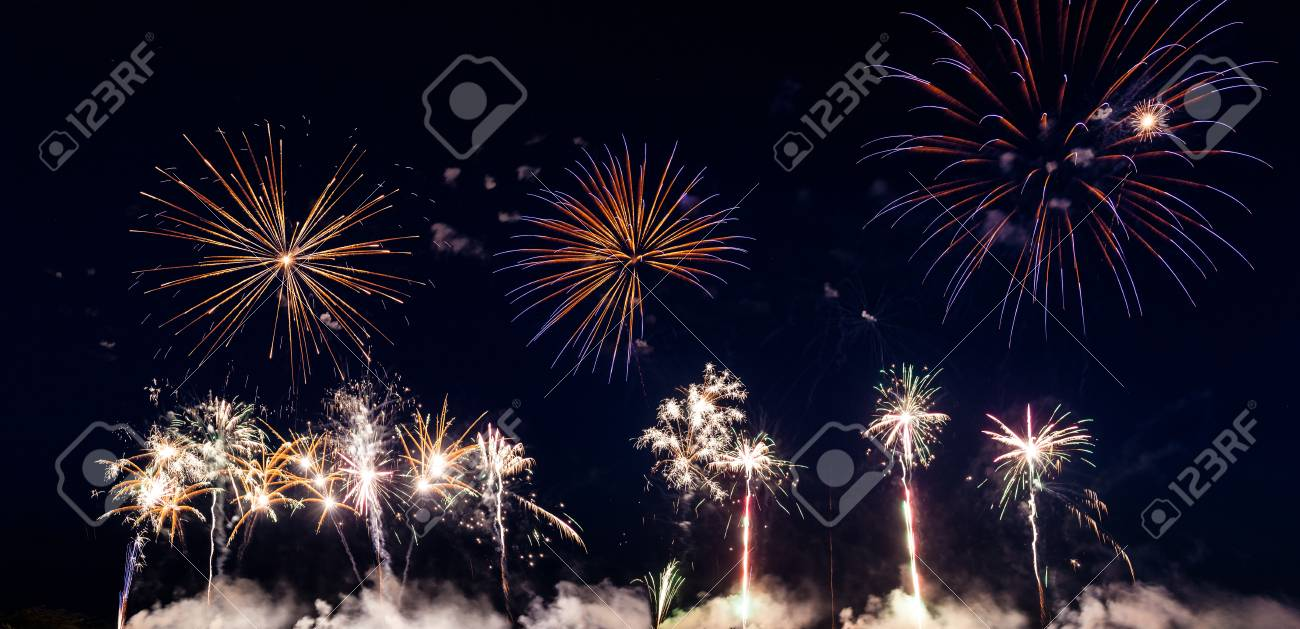 Colorful fireworks of various colors over night sky Stock Photo - 22496620