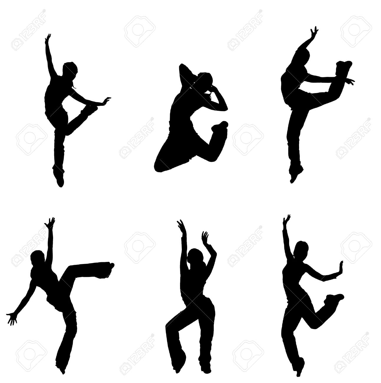 silhouettes of street dancers on a white background Stock Photo - 10575524