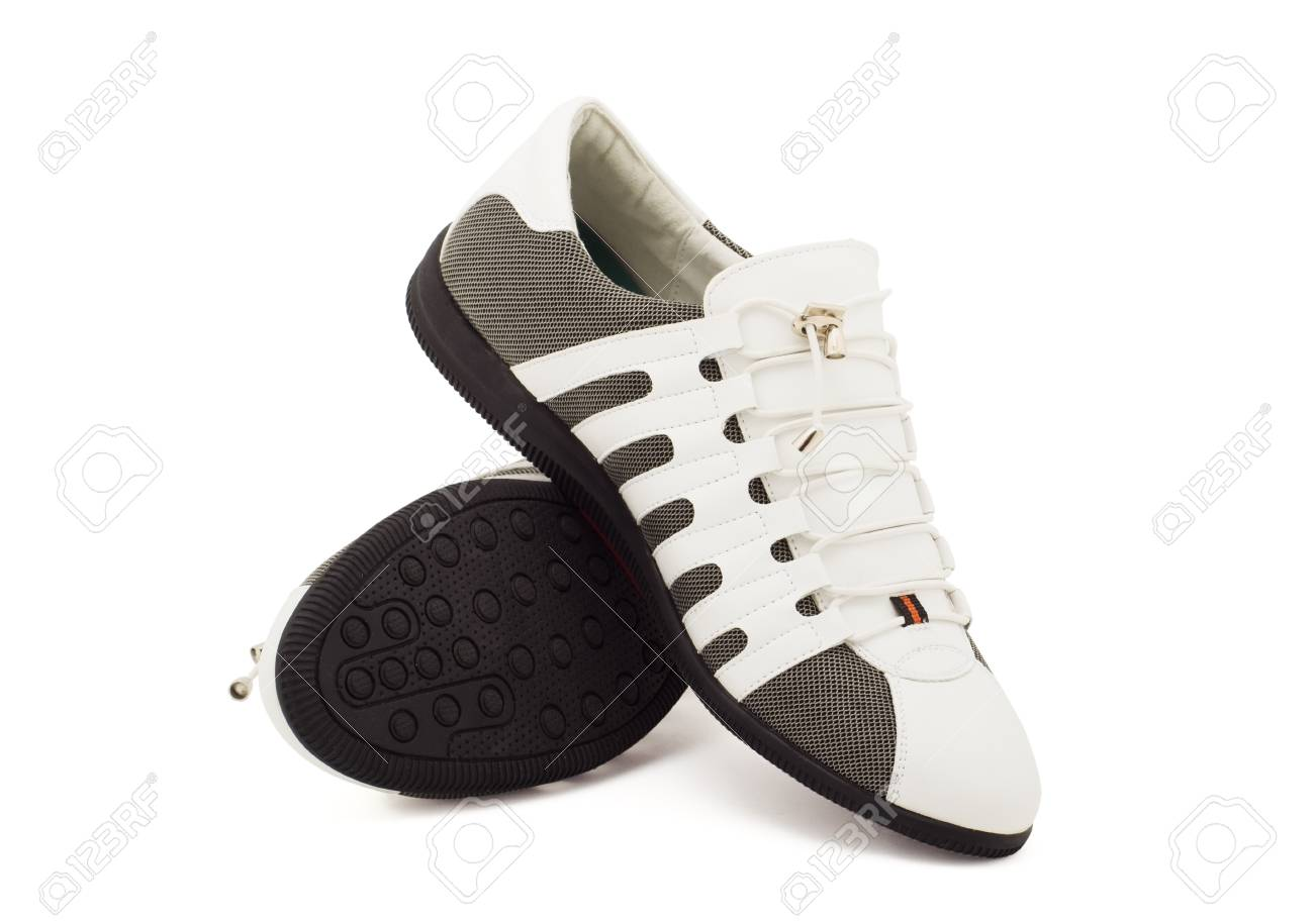 new modern male shoes over white Stock Photo - 11588170