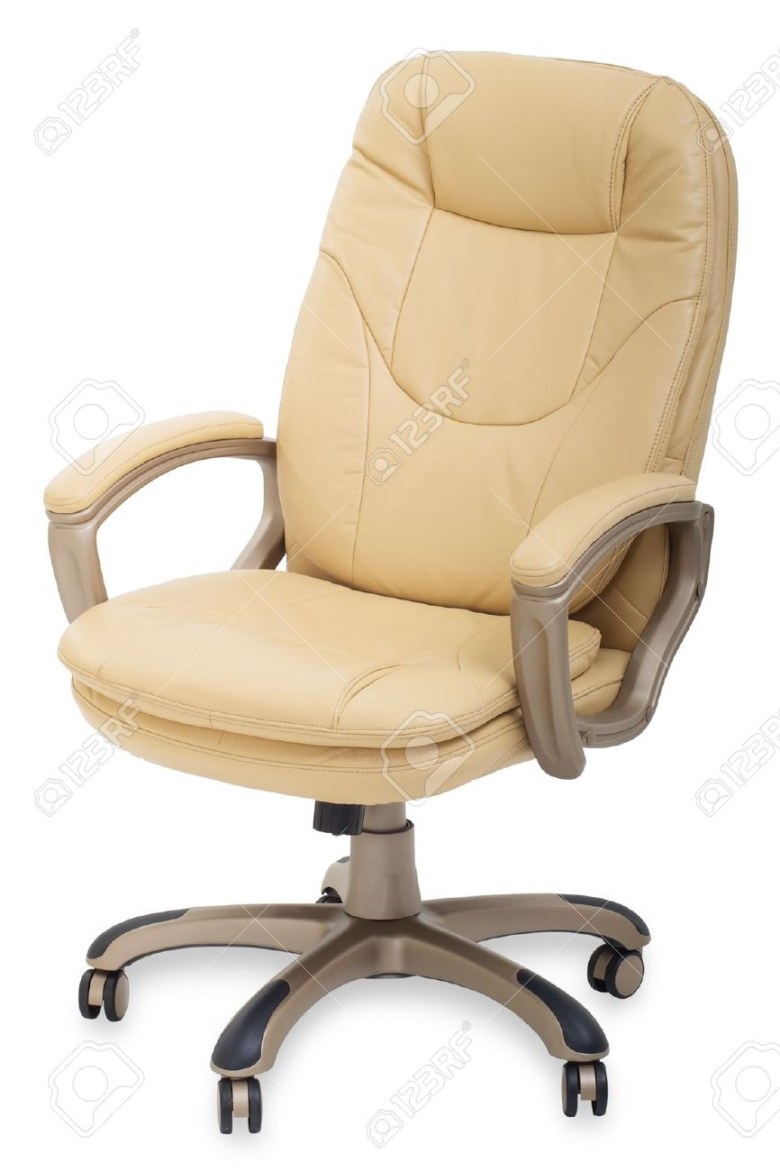Tan leather office chair - New Leather Office Chair On Wheels Stock Photo 11839349