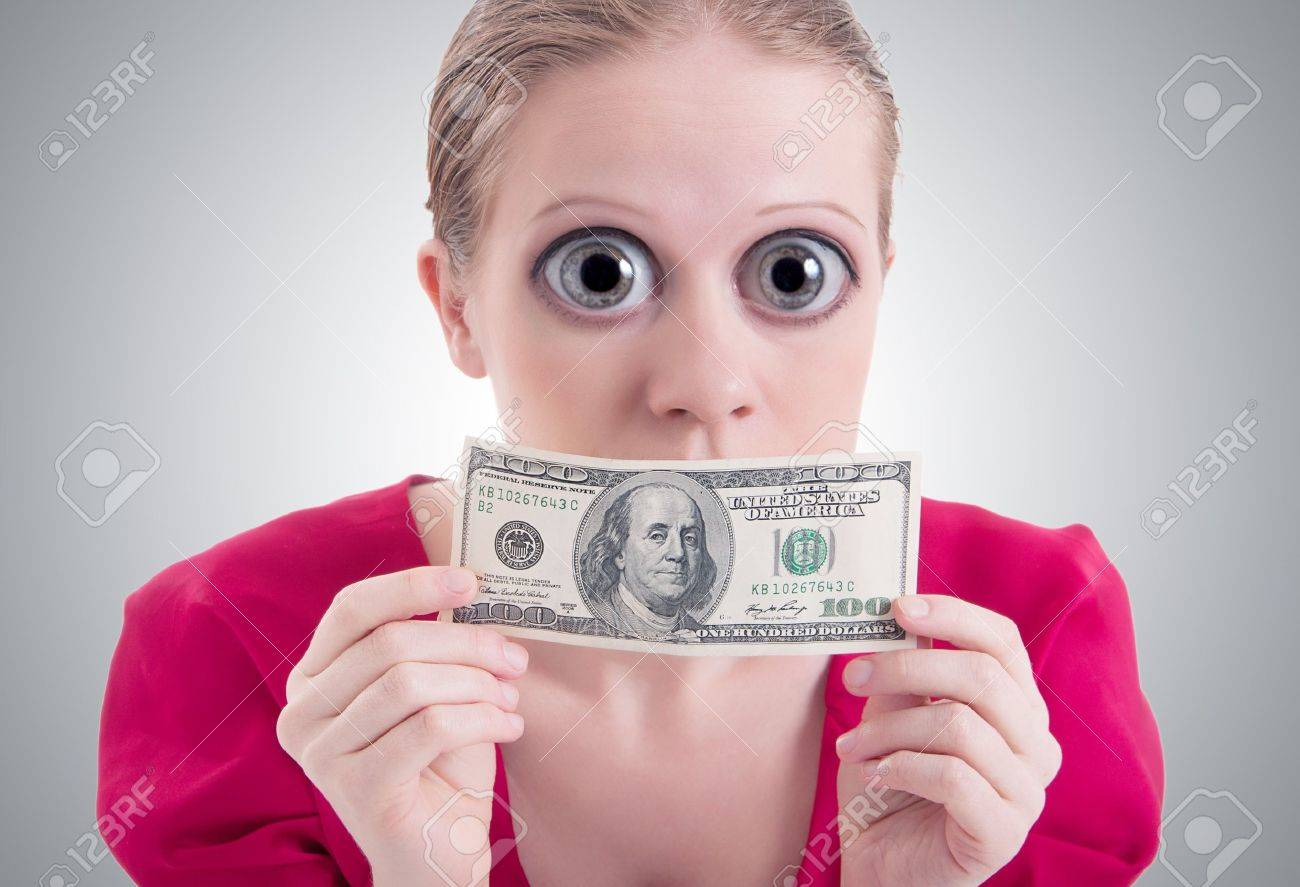 money concept. woman with a big surprise open eyes and mouth closed dollar Stock Photo - 15872006