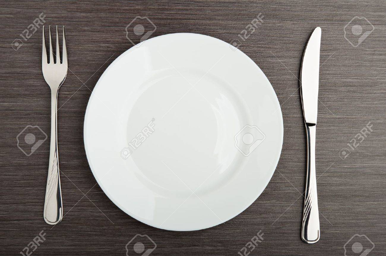 Stock Photo - table setting. plate fork knife white empty & Table Setting. Plate Fork Knife White Empty Stock Photo Picture And ...
