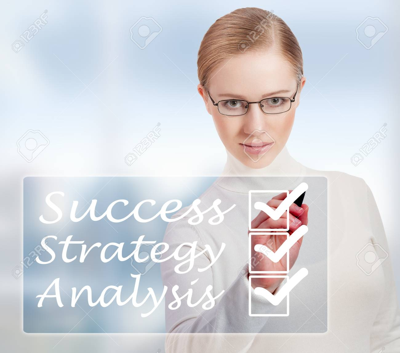 Concept of success and business woman in modern blue background Stock Photo - 16301966