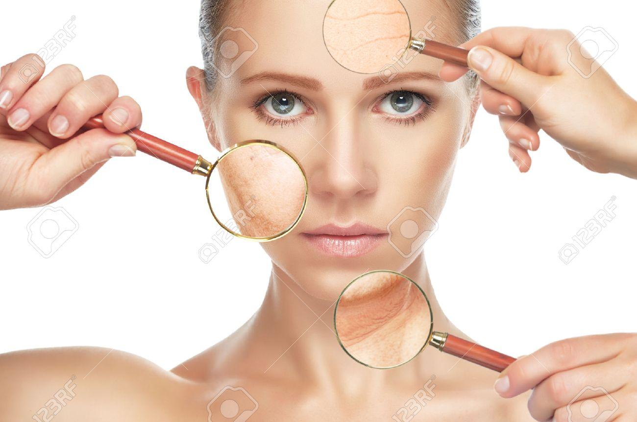 Populaire Beauté Concept De Vieillissement De La Peau. Procédures Anti  RE01