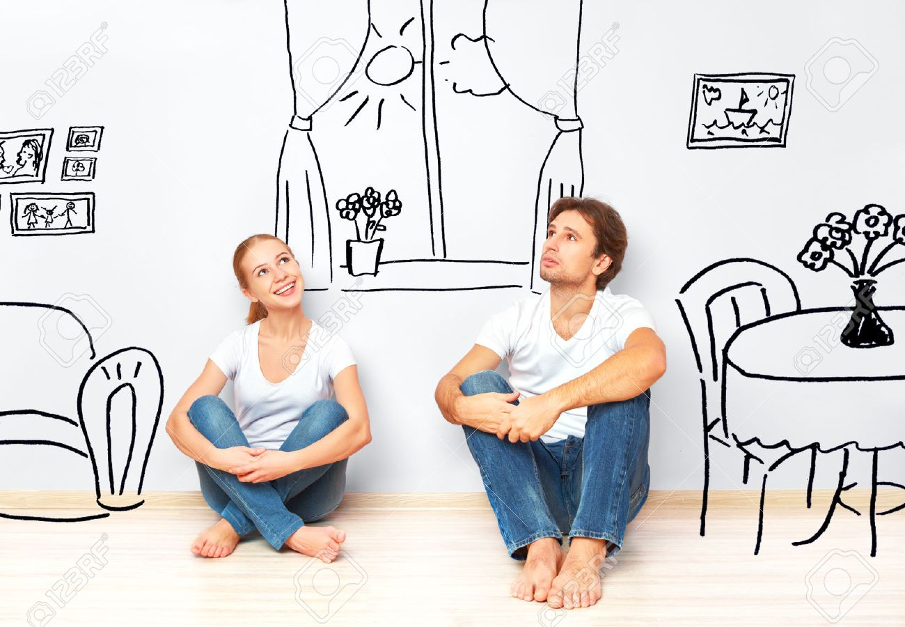 34079710 concept family happy couple in the new apartment dream and plan interior stock photo