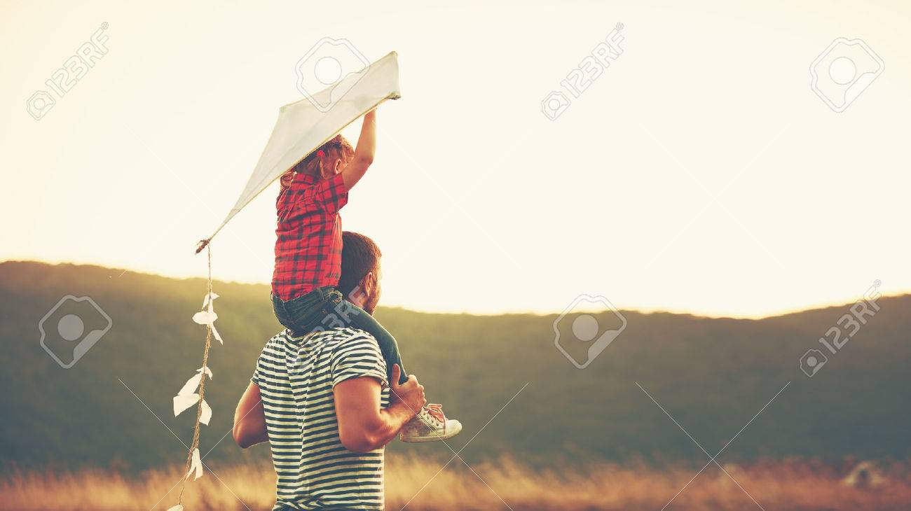 happy family father and child on meadow with a kite in the summer on the nature - 60028147