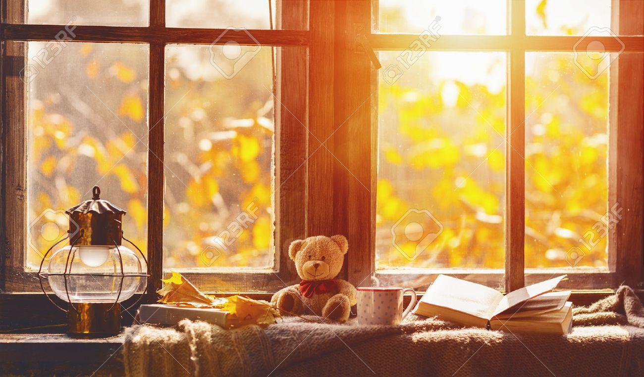fall. cozy window with autumn leaves, a book, a mug of tea - 63077178