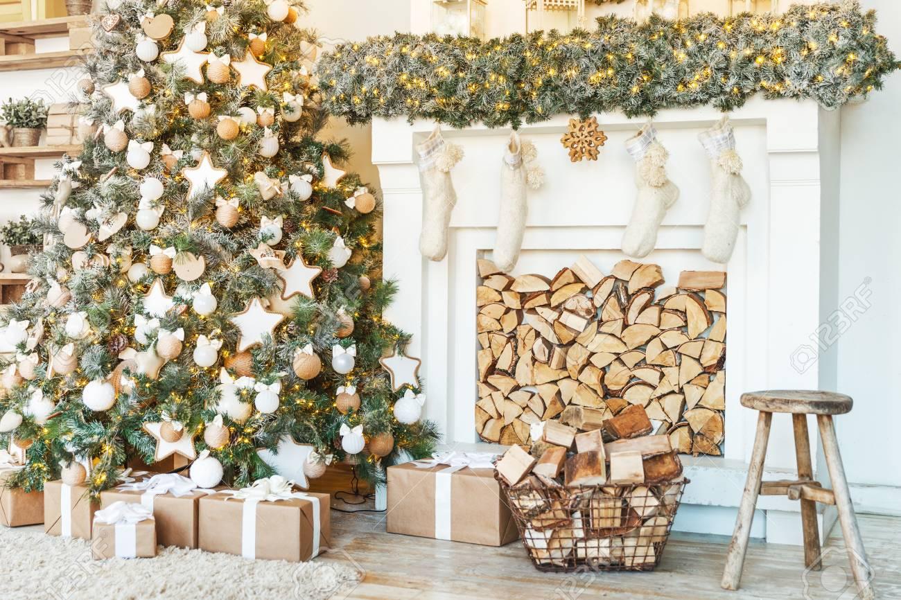 Christmas Decor Tree Decorations And Holiday Homes Stock Photo