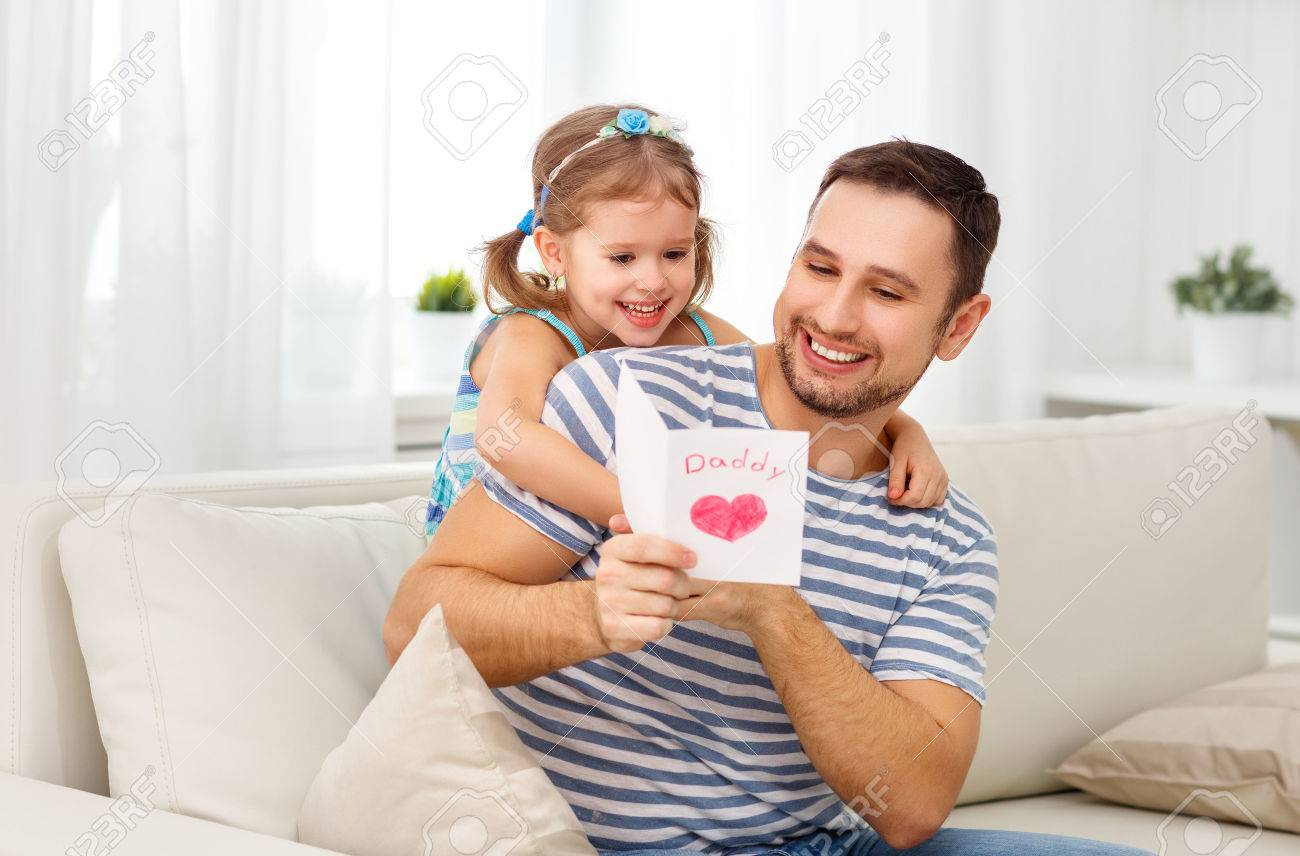 Fathers Day Happy Family Daughter Giving Dad A Greeting Card