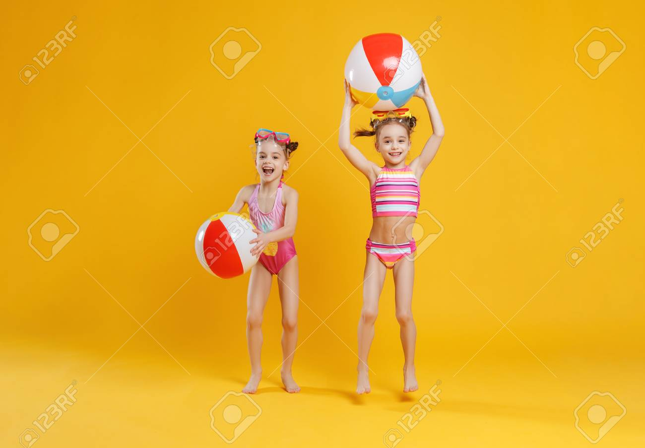 0efd9d306d funny funny happy children in bathing suits and swimming glasses..
