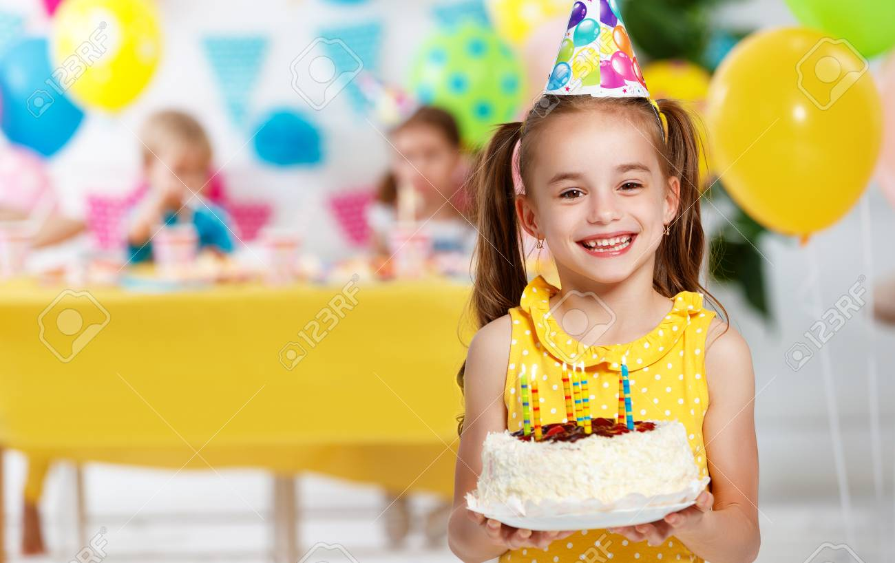 Admirable Childrens Birthday Happy Kids With Cake And Balloons Stock Photo Funny Birthday Cards Online Alyptdamsfinfo