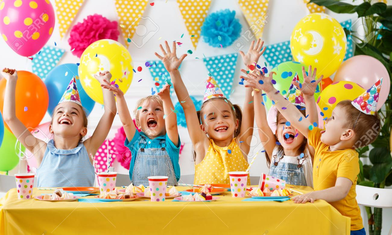 Children's birthday. happy kids with cake and balloons - 103907106