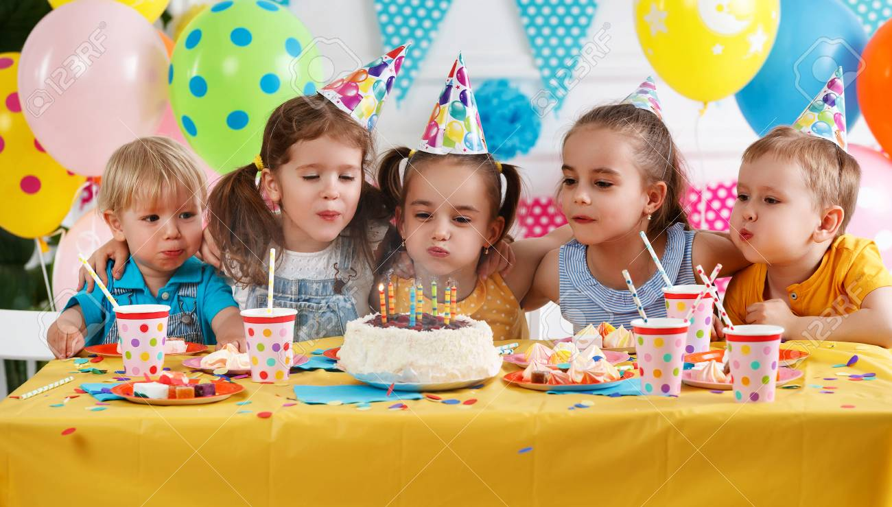 children's birthday. happy kids with cake and ballons - 108163332