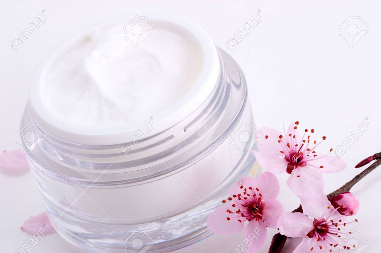 Closeup of open container of moisturizing face cream and blooming twig of plum on white background with small pink petals around Stock Photo - 890351