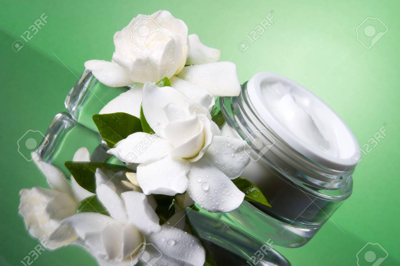 Closeup of container of opened moisturizing face cream and blooming fragrant white gardenias on melted icecubes over green toned background Stock Photo - 1954725