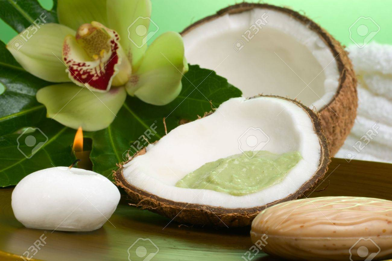 La Noix De Coco D Avocat Frottent En Coquille De Noix De Coco Fleur