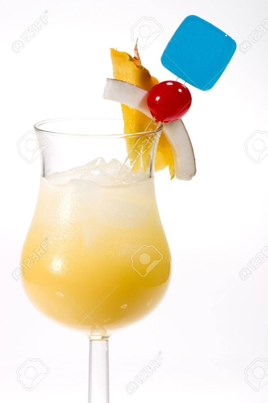 Pina Colada Cocktail And Tropical Fruits Rum Pineapple Juice