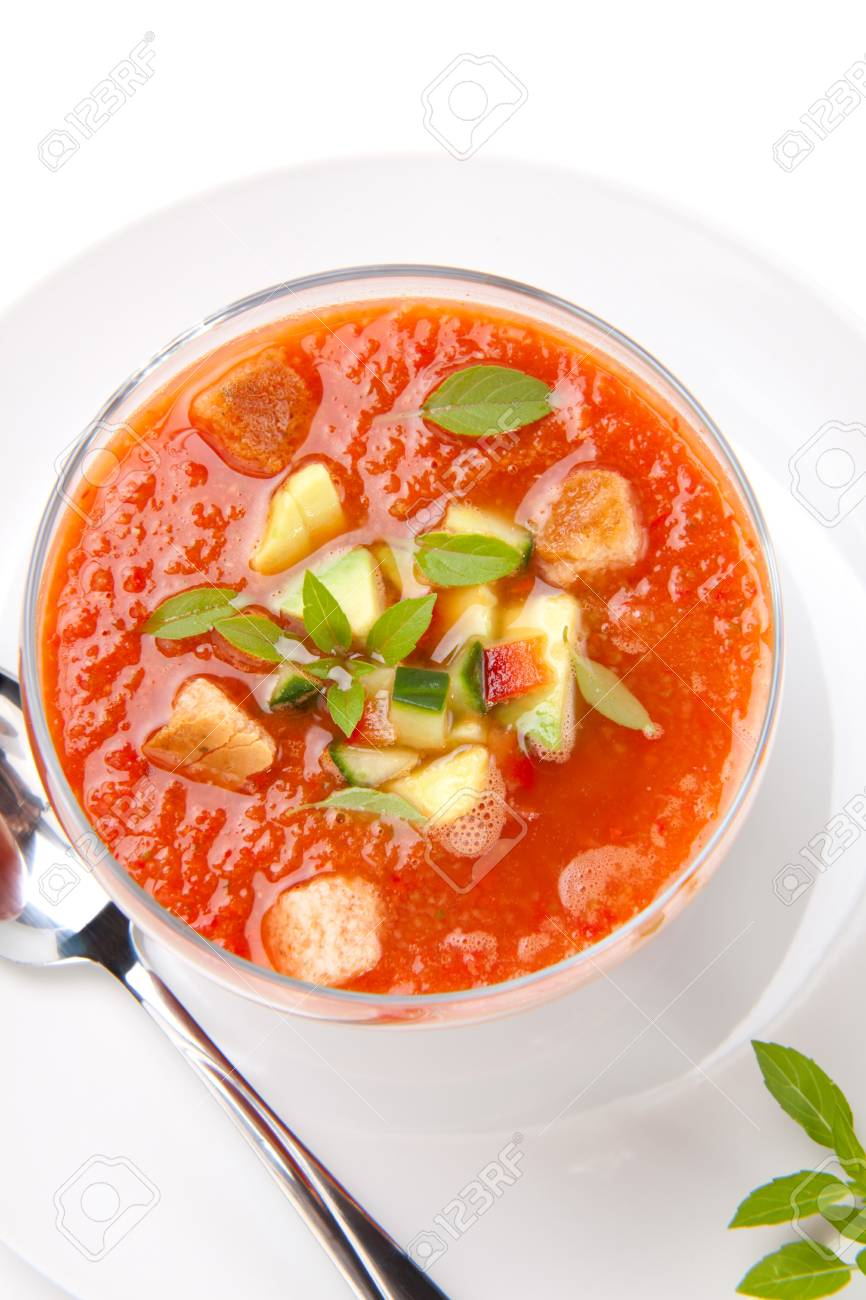 Closeup Of A Bowl Of Delicious Cold Gazpacho Soup With Cucumber