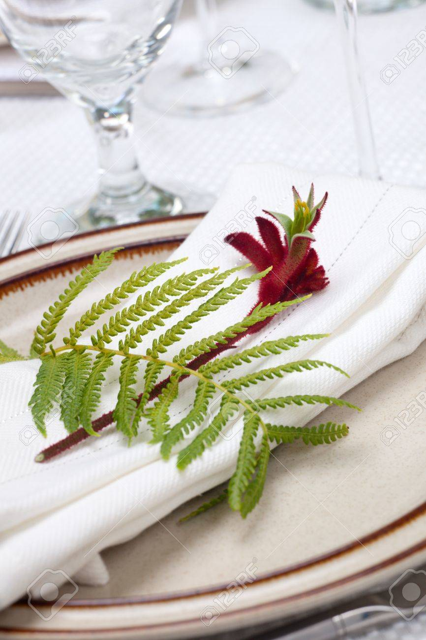 Exotic theme table setting. Arrangments with fresh fern and kangaroo paws flower Stock Photo - 7711487