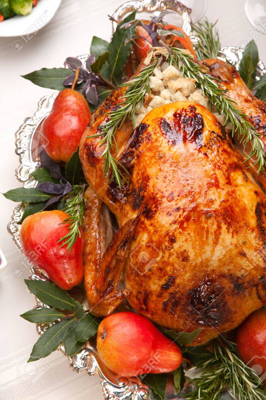 Delicious roasted turkey with savory vegetable side dishes in a fall theme Stock Photo - 8268791